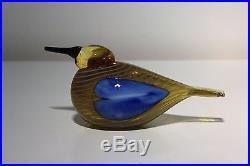 Oiva Toikka, Sinisotka Blue Scaup Duck, Yellow Glass Bird, Nuutajarvi Iittala