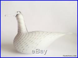 Oiva Toikka Swan striped matt white 1994-2001 glass bird Iittala Nuutajärvi