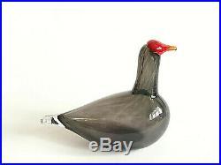 Oiva Toikka UNIQUE Bird Bald Coot DARK GRAY Design Glass Art Iittala