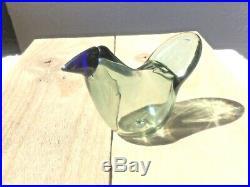 Oiva Toikka glass bird sieppo gray body and deep boldblue beak Nuutajärvi NIB