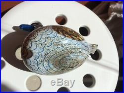 Oiva Toikka glass matte duck bird with blue beak Nuutajärvi Finland Iittala