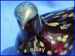 Oiva Toikka iittala Fine Ruby Art Glass Painted Bird Cranberry 8x4 Inch SIGNED