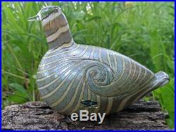 RARE Vintage ittala art glass bird Long Tailed Duck-silver Artist Oiva Toikka