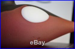 RARE iittala Toikka Bird Finch Red Black White Glass Mint Condition