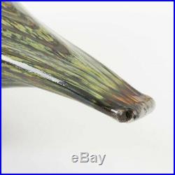 Rare Iittala Oiva Toikka Finland Art Glass Bird Green Gold Swirl Tern Grouse