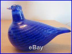 Rare Ittala Studio Art Glass Oiva Tokka Blue Bird signed 5 #2