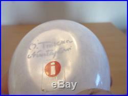Rare Ittala Studio Art Glass Oiva Tokka white striped bird 4 signed