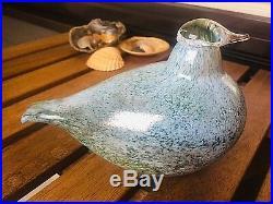 Rare old Notsjö blue-green-white Oiva Toikka Nuutajärvi glass bird Finland
