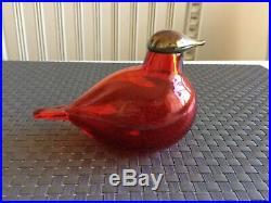 Rare red bird with golden head Oiva Toikka Nuutajärvi Finland glass bird Iittala