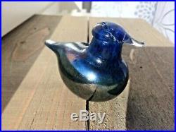 Rare silverluster and darkblue glass bird Oiva Toikka Nuutajärvi Iittala Finland