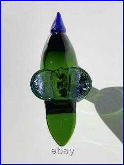 Sieppo Green with Legs 1995 Iittala Bird Oiva Toikka height 12 width 14 cm used