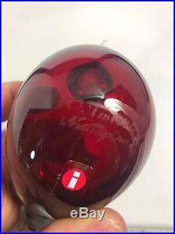 Signed Oiva Toikka Nuutajarvi Bird IIttala Ruby Red Art Glass 16K