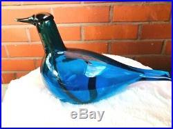 Stunning large bluegreen Oiva Toikka Nuutajärvi Finland Iittala glass bird