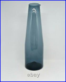 Timo Sarpaneva, blue glass decanter carafe pitcher, Iittala Finland 2503 1950's
