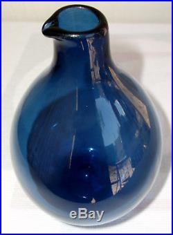 Timo Sarpaneva iittala Finland Bird Beak Vase Deep Blue Scandinavian Glass MCM