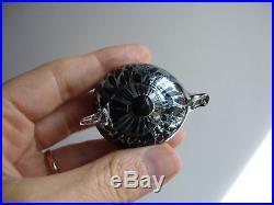 Toikka Glass Bird, Pikku Hippi, Small Golden Crest, Silver, black spots, signed