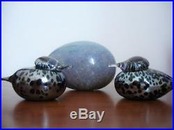 Toikka Glass Bird Pikku Hippi Small Goldencrest Blue Silver Lustre spots signed