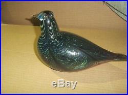 Vintage Iittala Art Glass Oiva Toikka Bird Large 11 1/2 Long Signed Amethyst