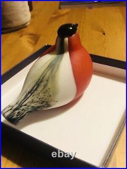 Vintage Iittala Oiva Toikka Glass Bird Red & White & Gray Made In Finland Rare