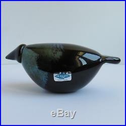 Vintage Oiva Toikka Crow Nuutajarvi Black Lustre, Art Glass Raven Bird Signed