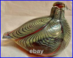 Vintage Oiva Toikka Littala Nuutjarvi Finland Art Glass Red Pheasant Bird